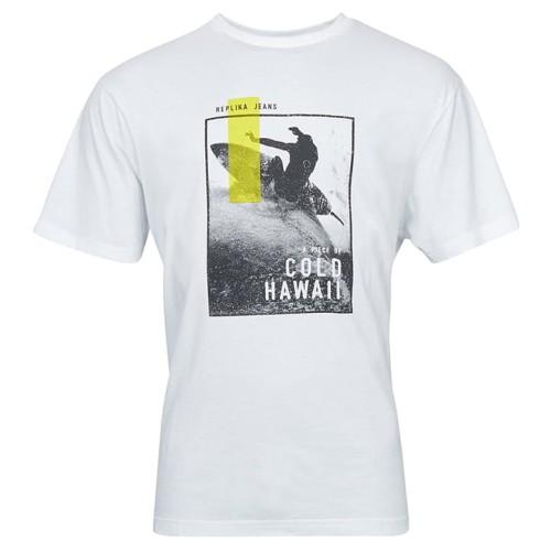 Duży męski t-shirt Replika Jeans 11327B biały
