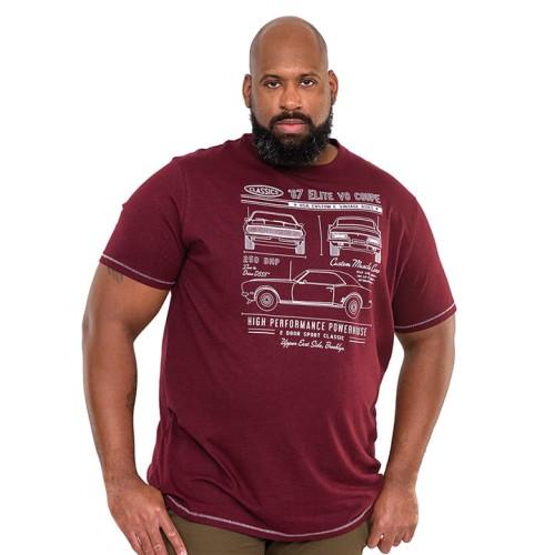 Duża koszulka męska Duke D555 Brady bordowa